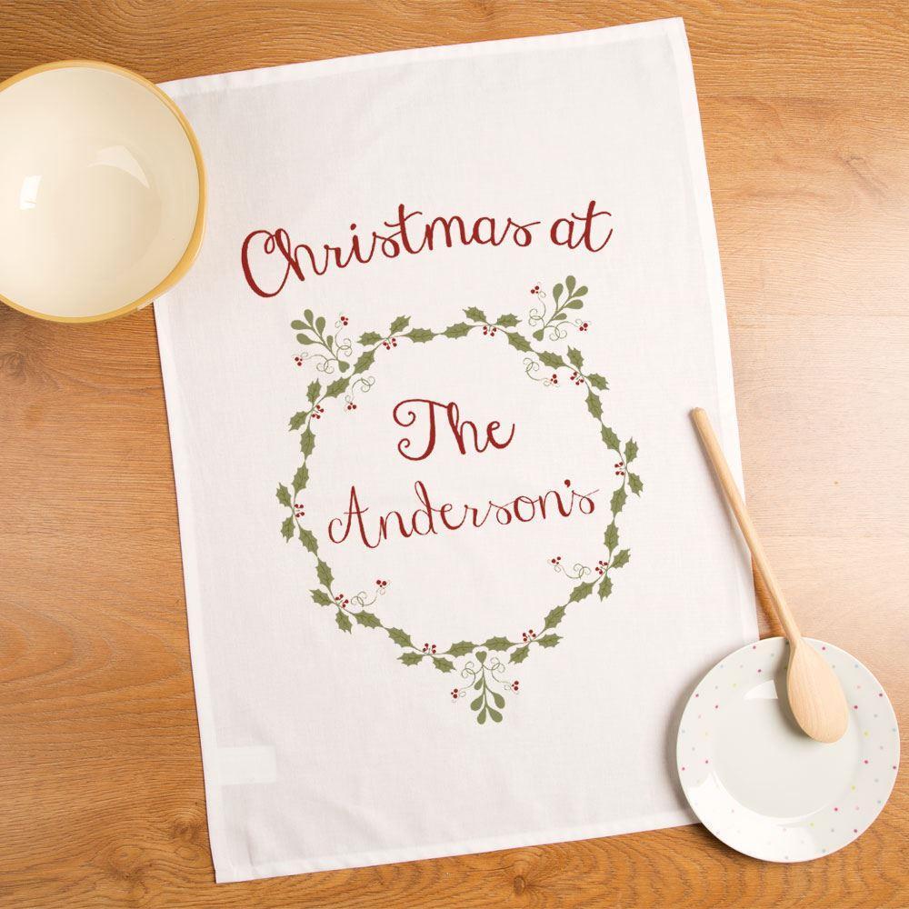 Personalised Festive Christmas Wreath Tea Towel