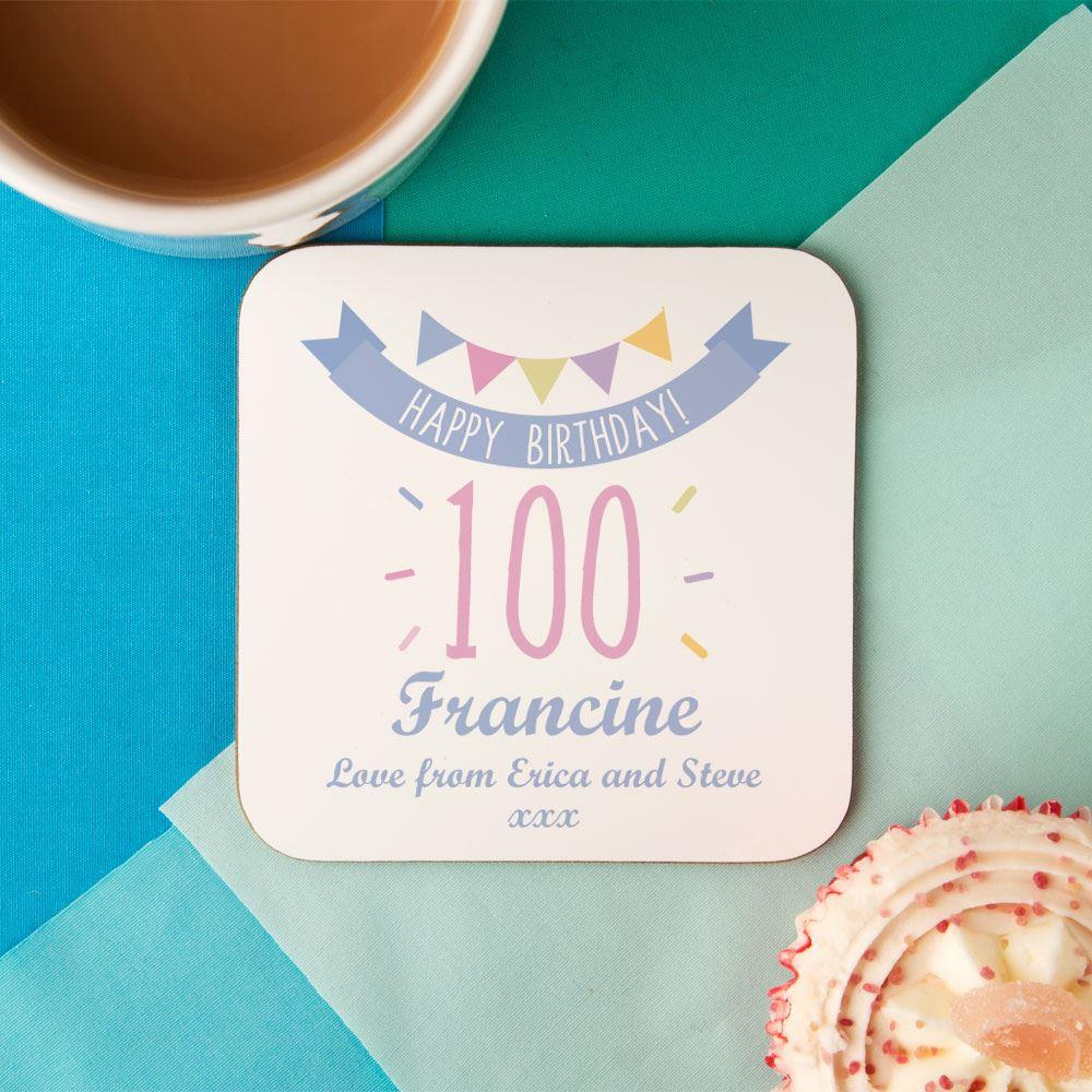 Image of 100th Birthday Drinks Coaster for Her