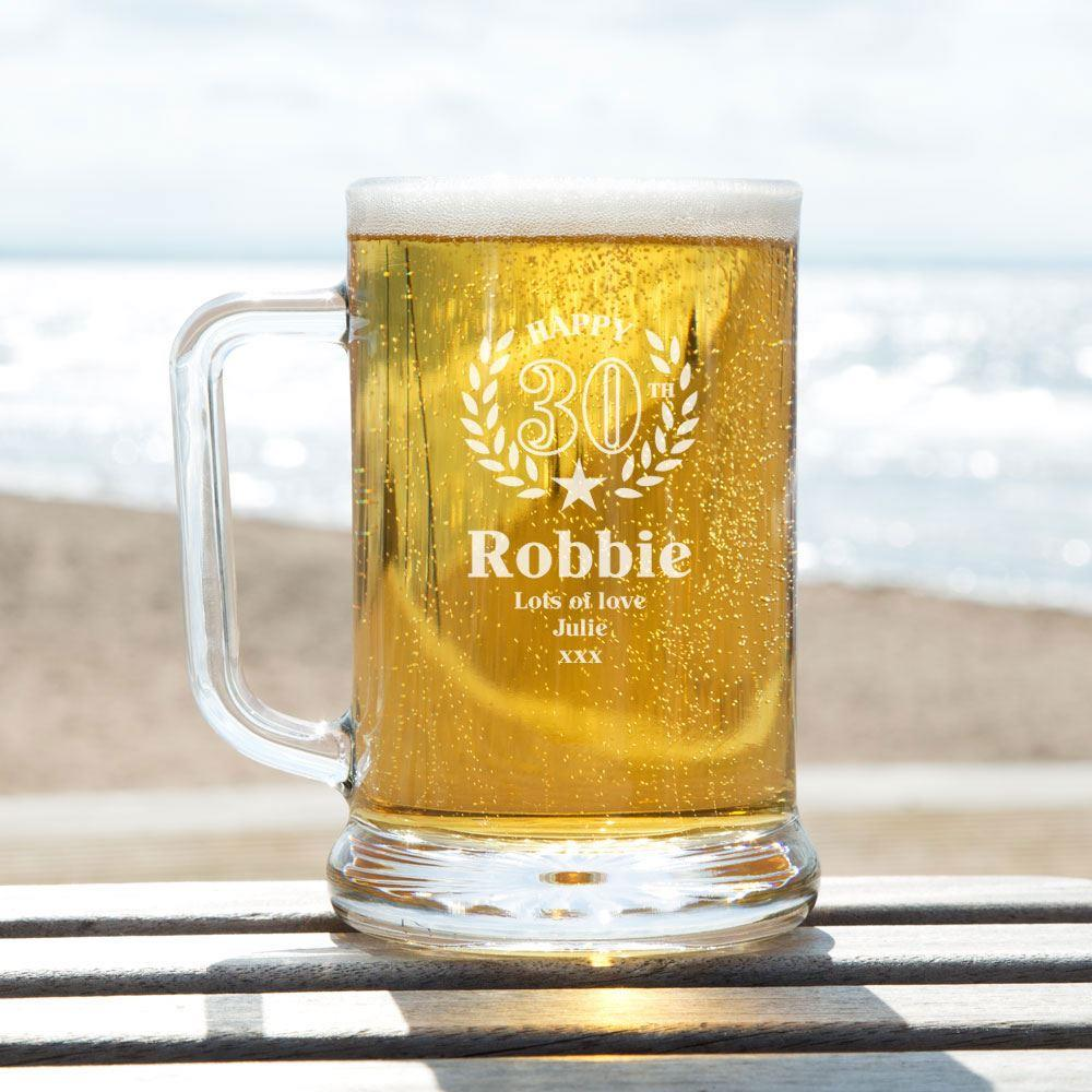 Bespoke Engraved 30th Wreath Glass Pint Tankard Special Offer