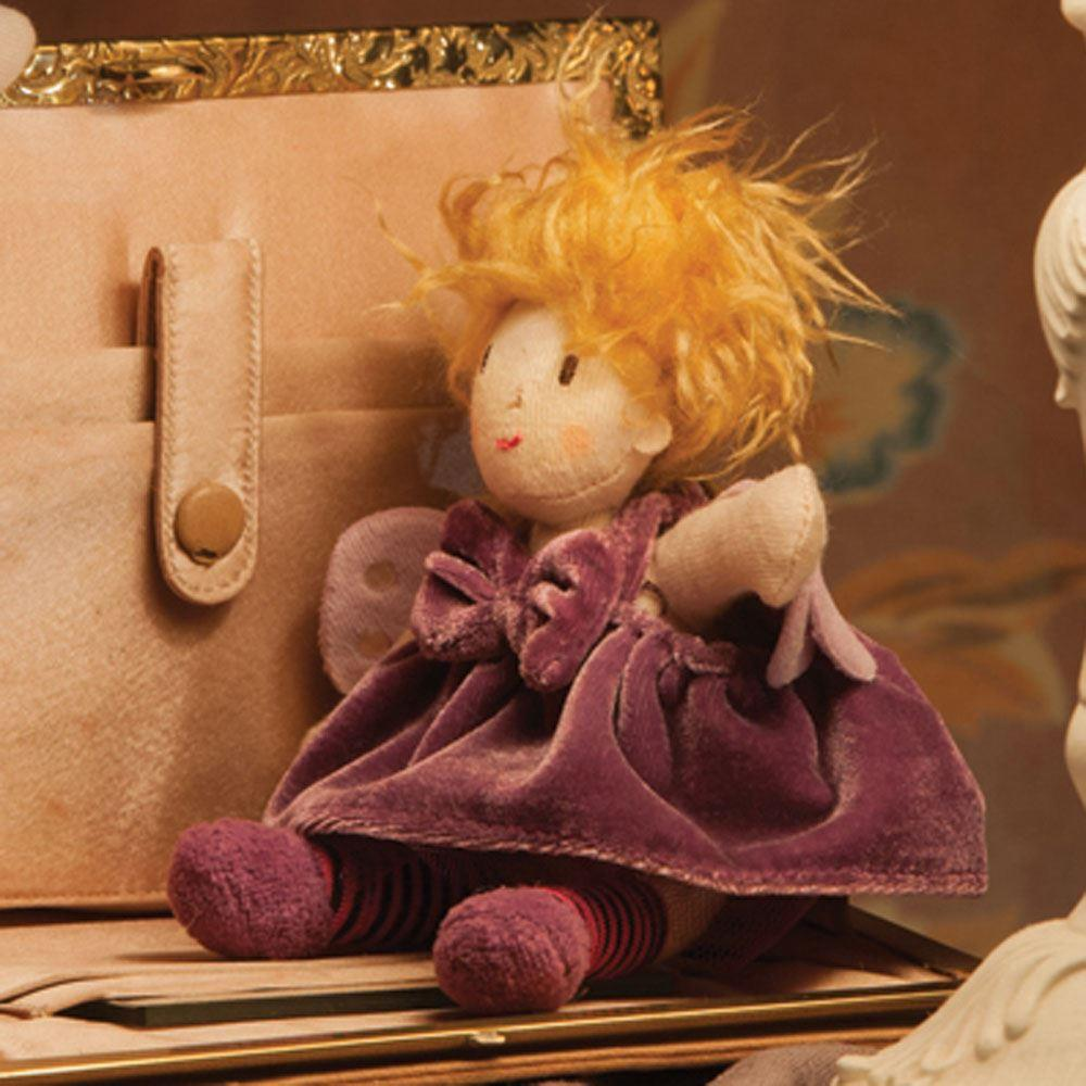 Girl Tooth Fairy Soft Toy in Purple Dress