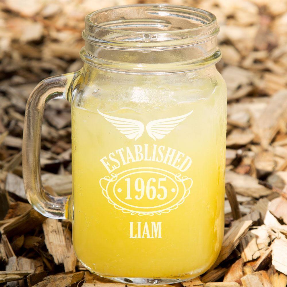 Established Since 50th Birthday Male Glass Mason Jar