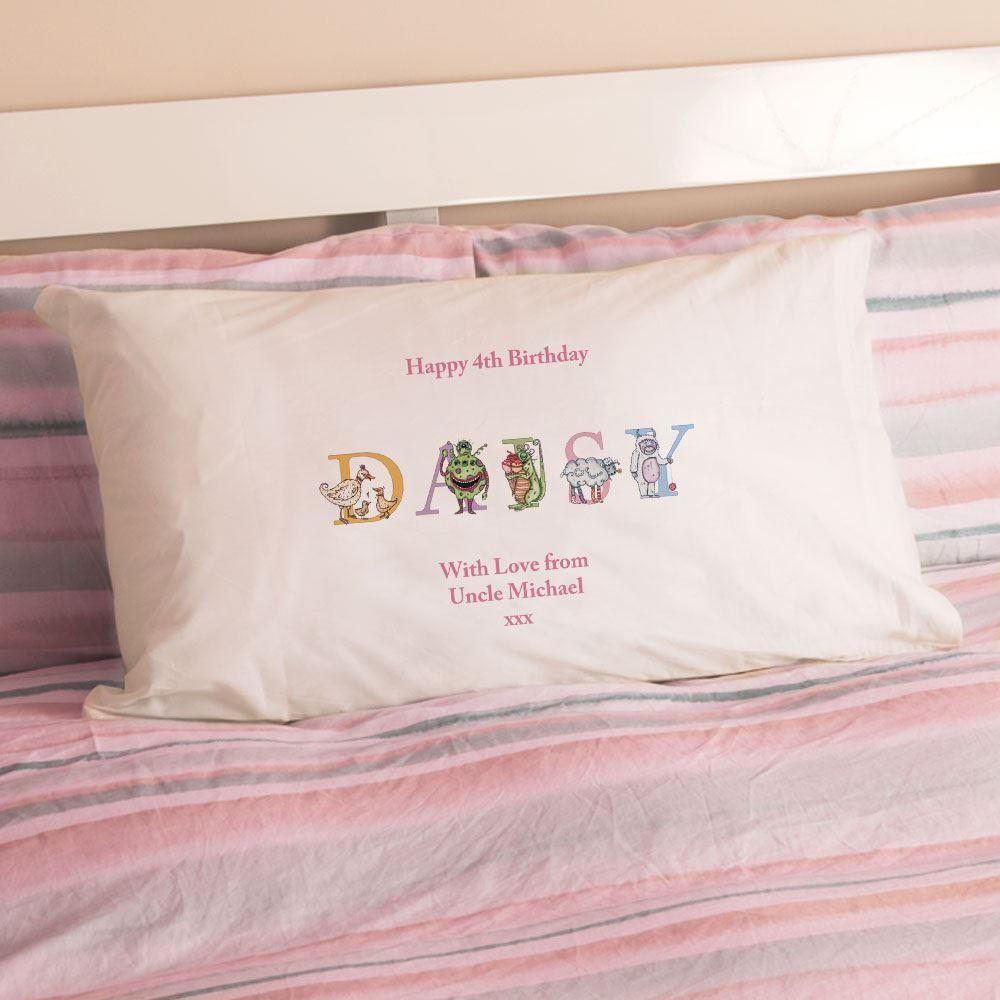 Personalised Girls Birthday Name Illustration Pillowcase