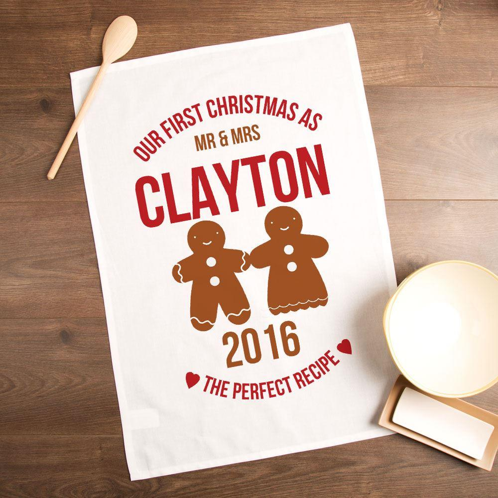Personalised First Married Christmas Gingerbread Tea Towel