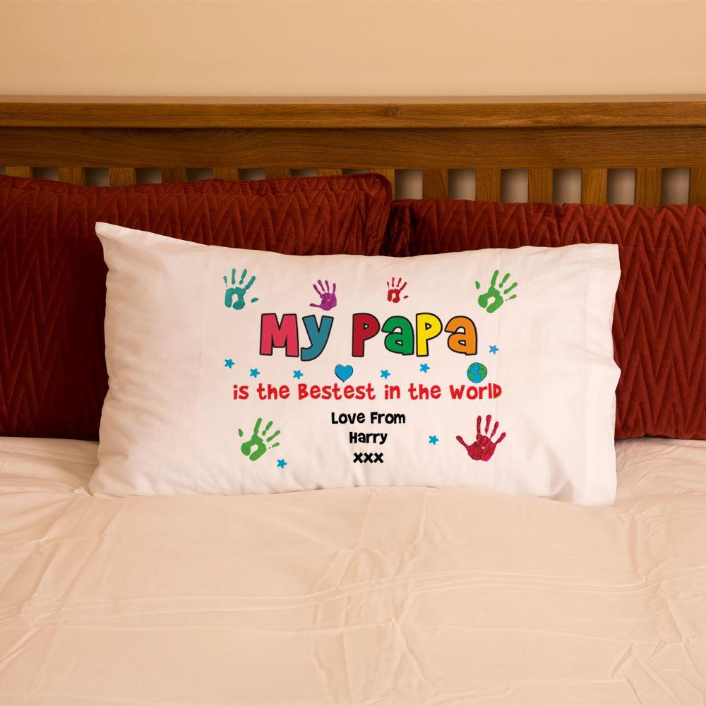 Grandad Papa Pops Hand Print Pillowcase
