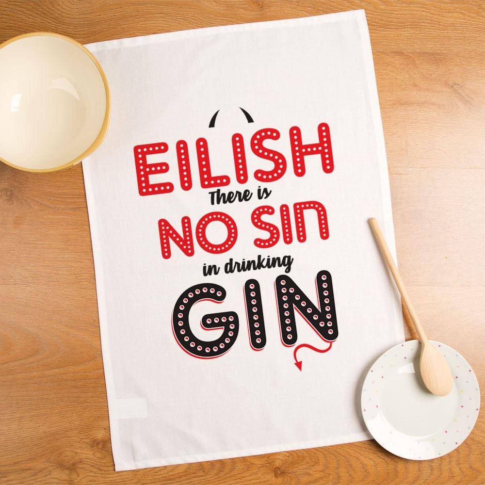 Personalised No Sin in Drinking Gin Tea Towel