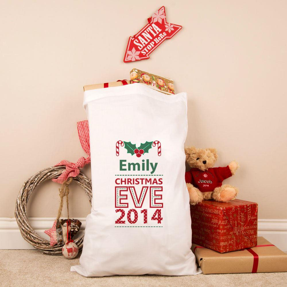 Personalised Christmas Eve Holly Pillowcase Sack