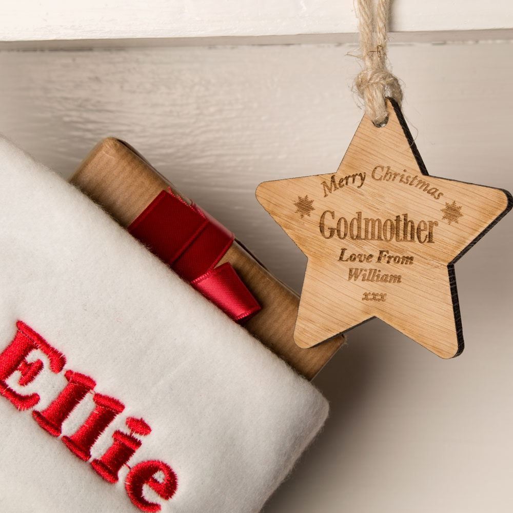 Laser Engraved Godmother Wooden Star