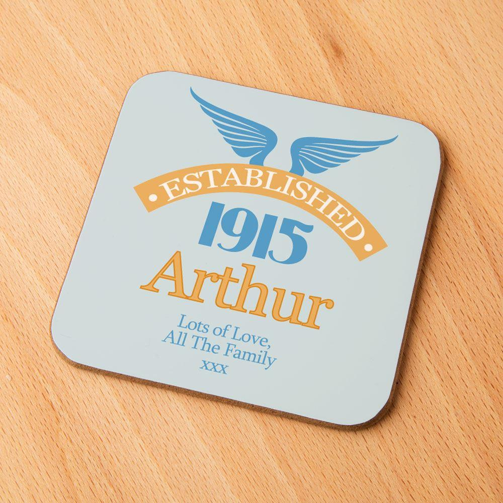 Image of 100th Birthday Established Year Drinks Coaster for Him