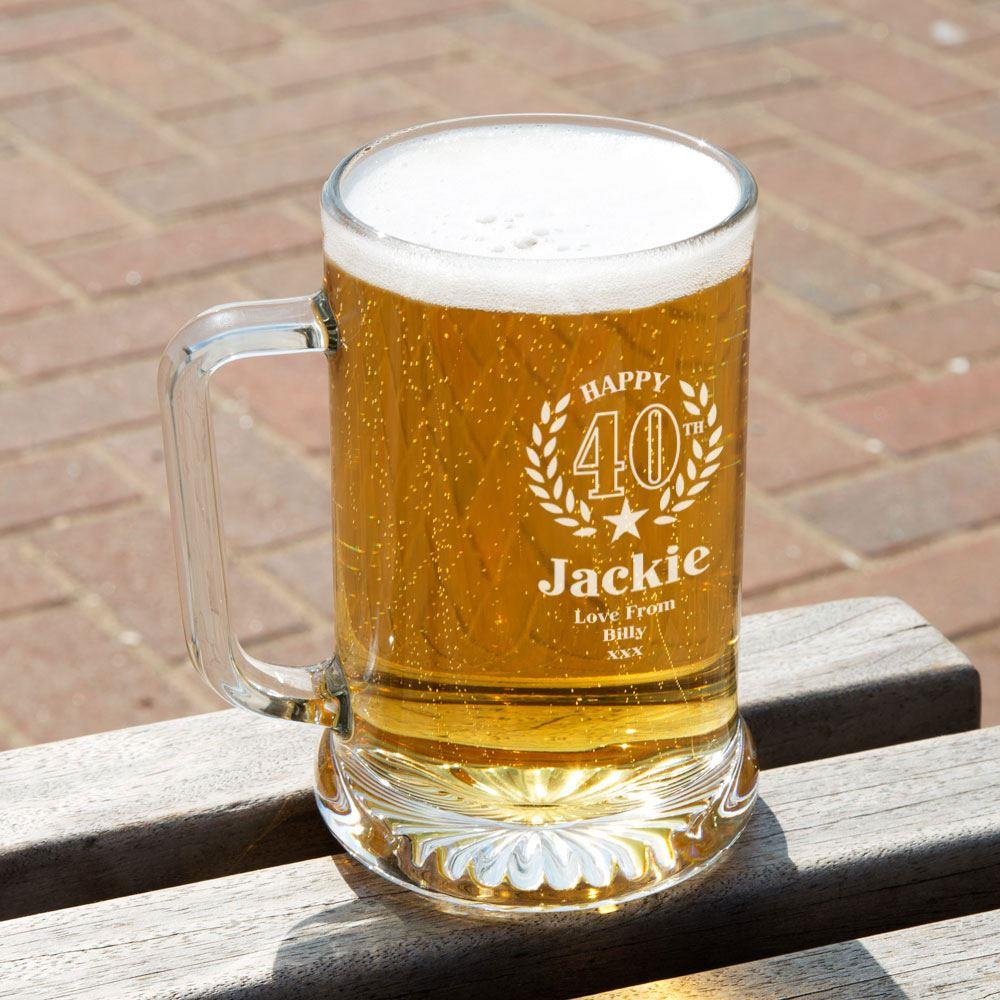 40th Wreath Unique Engraved Glass Pint Tankard Special Offer