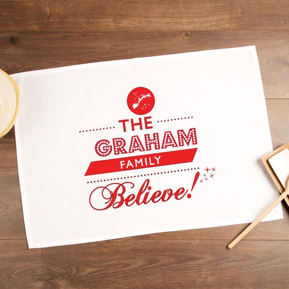Personalised Believe in Santa Tea Towel with Family Name