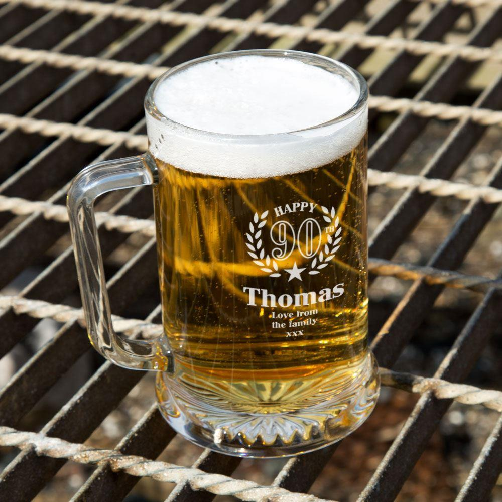 Personalised 90th Wreath Engraved Glass Pint Tankard Special Offer