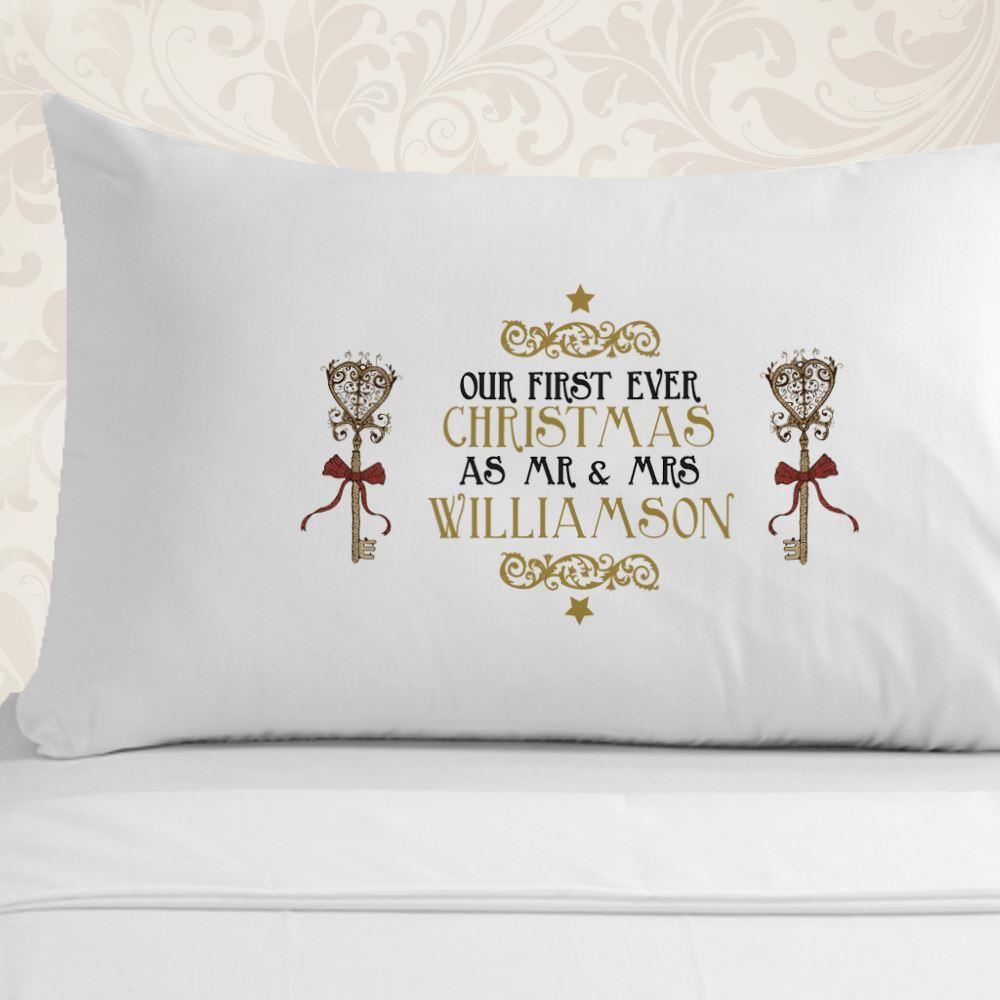 First Christmas As A Married Couple Pillowcase