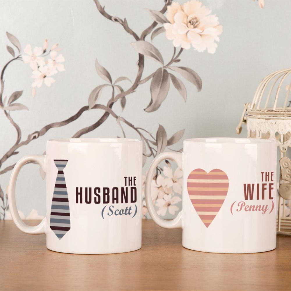 Personalised Husband and Wife Mug Set