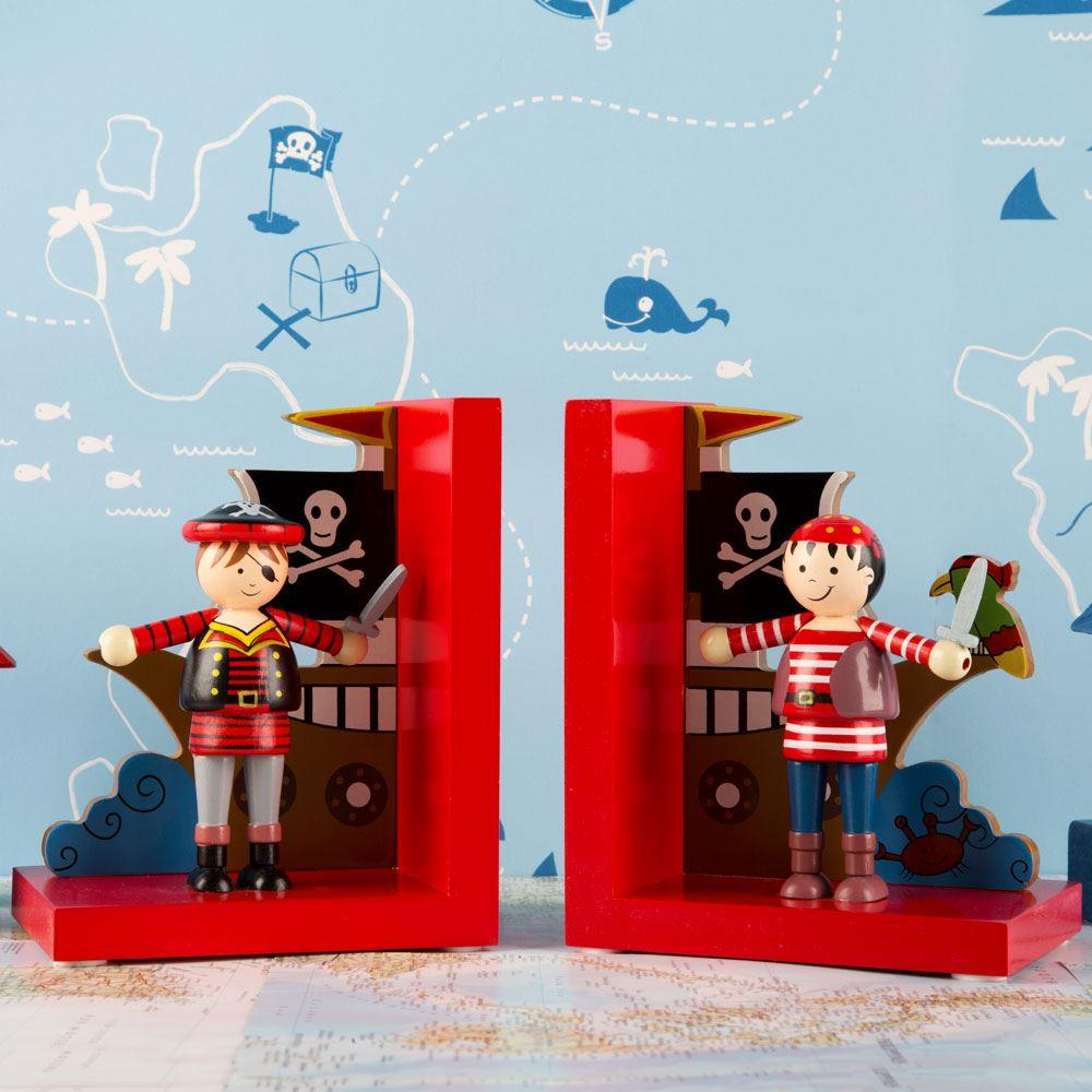 Handcrafted Wooden Pirate Bookends