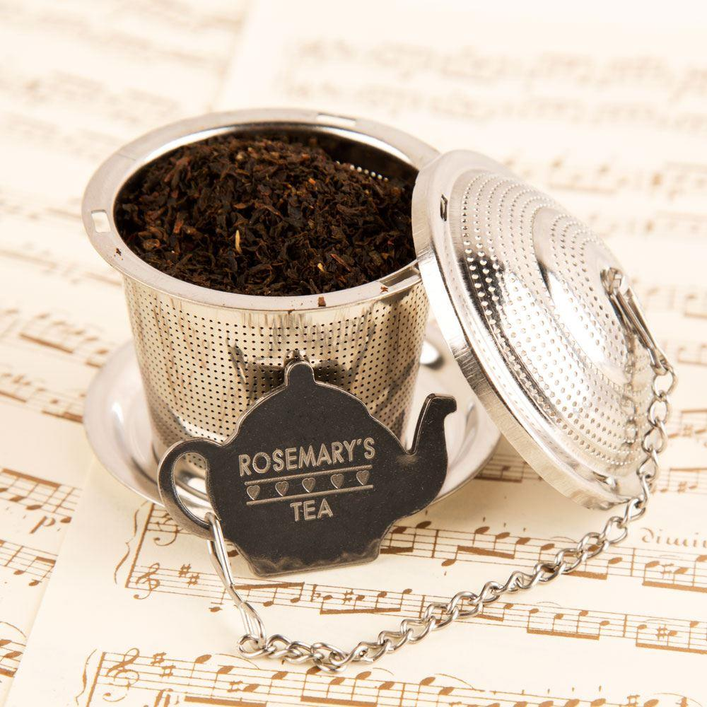 Engraved & Personalised Loose Tea Infuser with Drip Tray