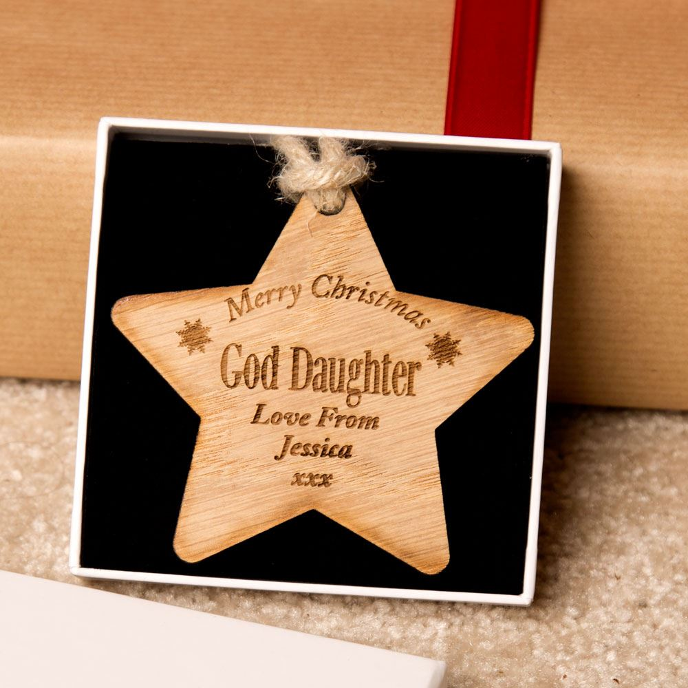 Personalised God Daughter Wooden Star