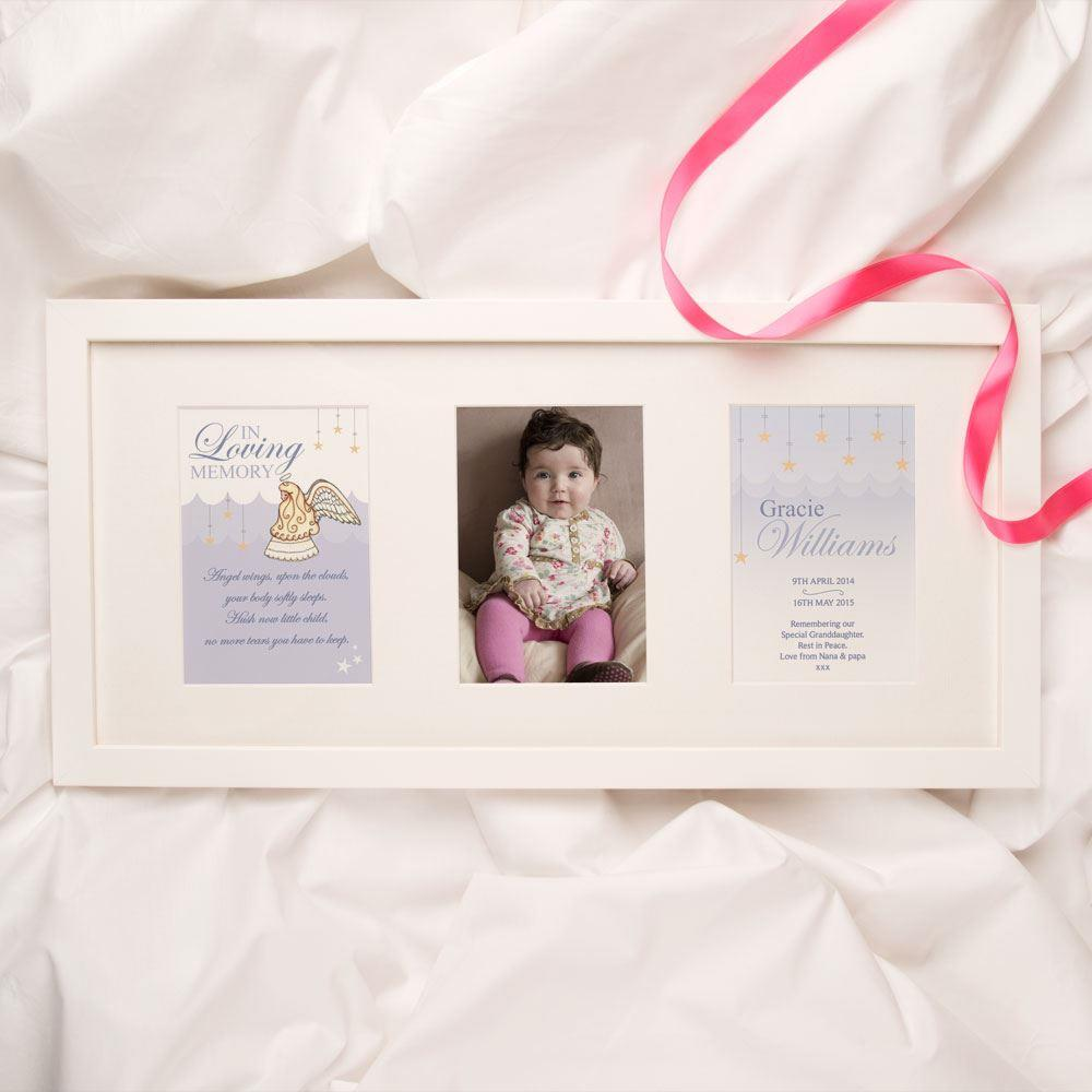 Personalised Baby and Child Memorial Print Girl Angel Design 3 Aperture Frame