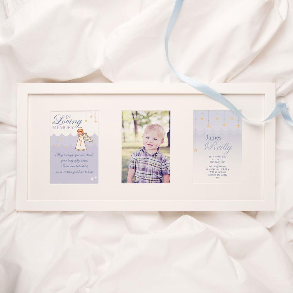 Personalised Baby and Child Memorial Print Boy Angel Design 3 Aperture Frame