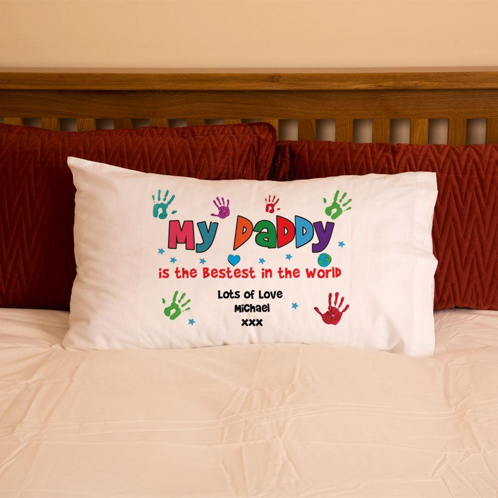 Personalised Dad Daddy Hand Print Pillowcase