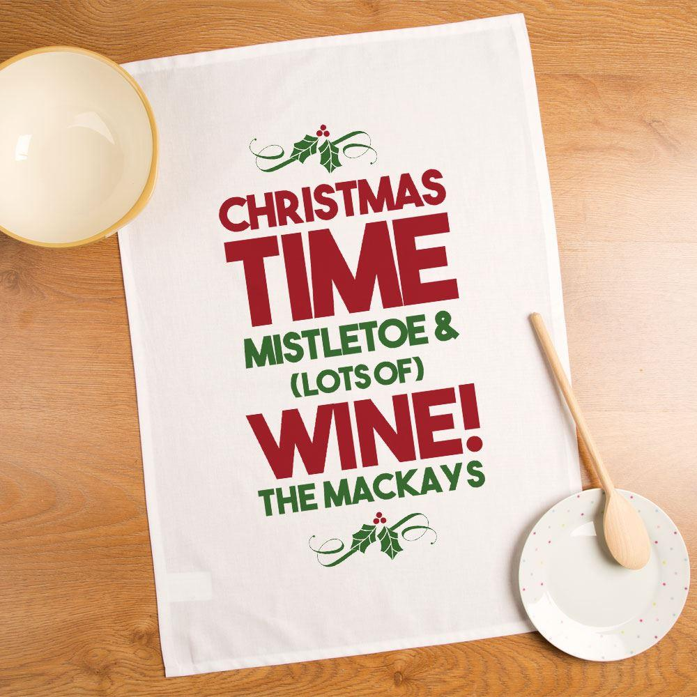 Personalised Christmas Time, Lots of Wine Tea Towel