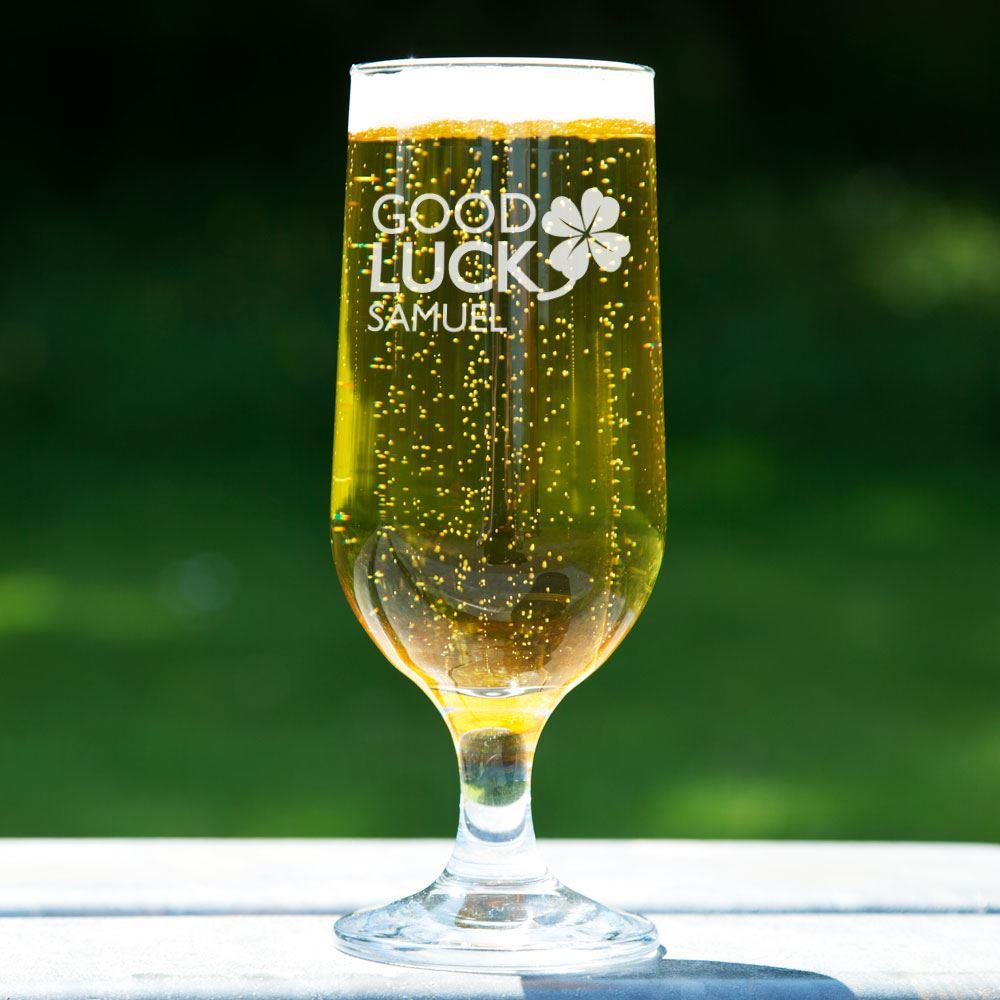 Personalised Good Luck Beer Glass