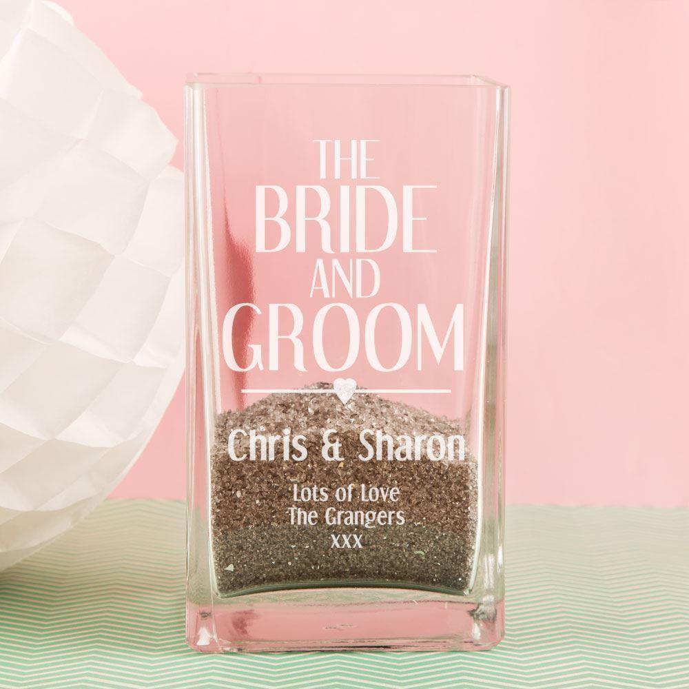 Personalised Bride and Groom Glass Vase