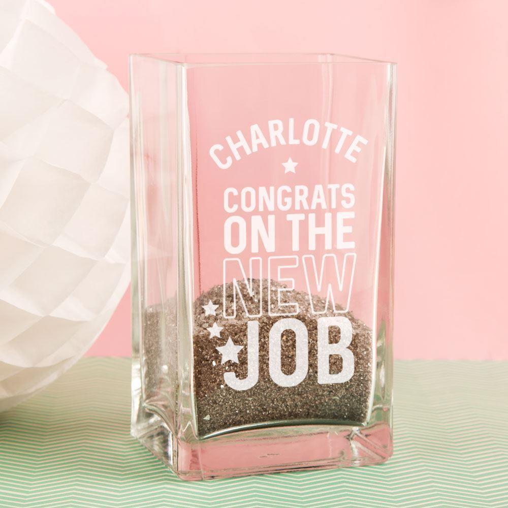 Customised New Job Glass Vase
