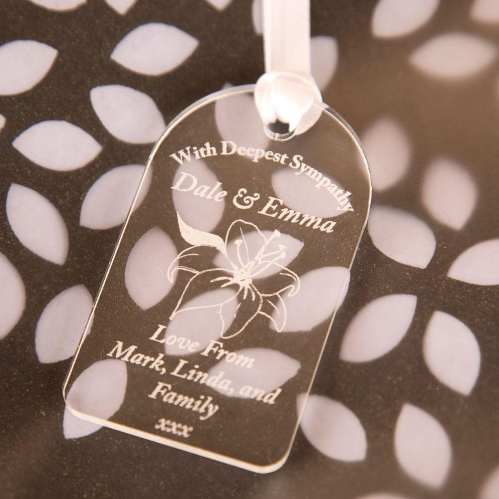 Customised Deepest Sympathy Acrylic Tag Forever Bespoke