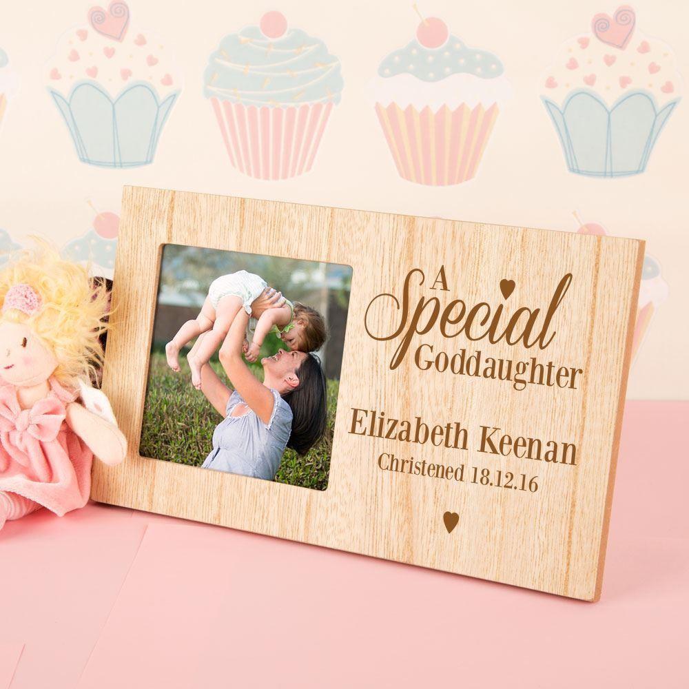 Cute Wooden Engraved Goddaughter Frame