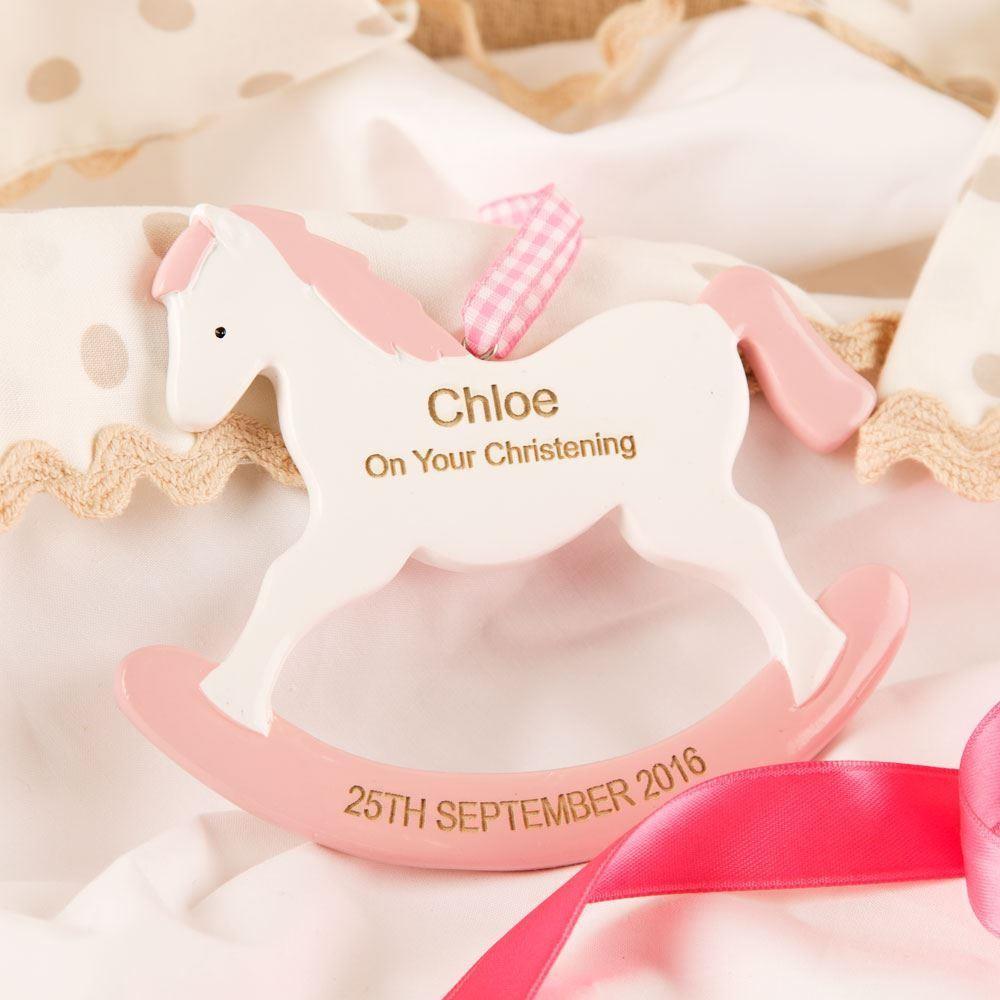 Pink Girls Engraved Christening Rocking Horse