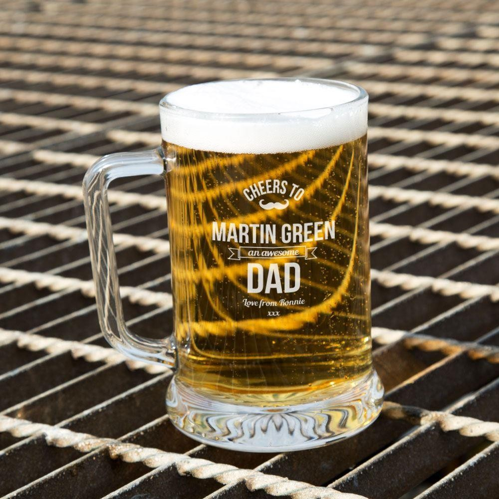 Awesome Dad Customised Glass Beer Tankard: Special Offer