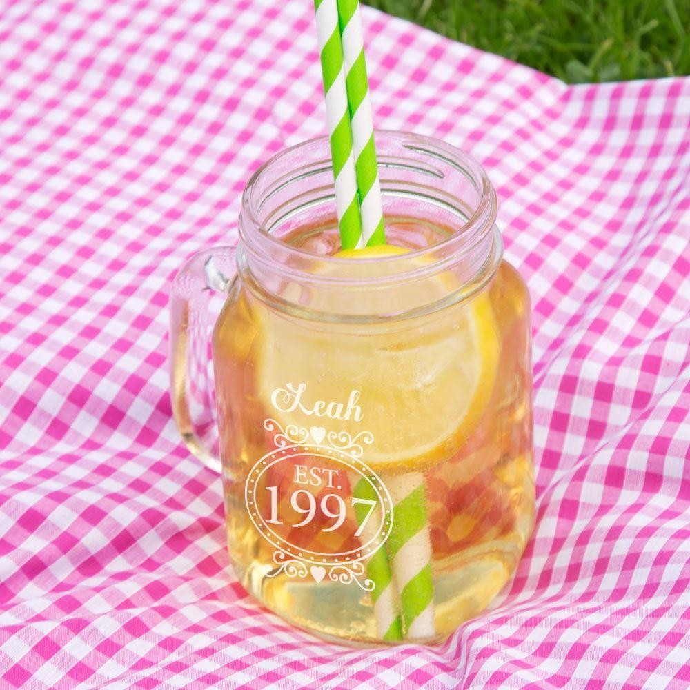Personalised 18th Birthday Glass Mason Jar For Her