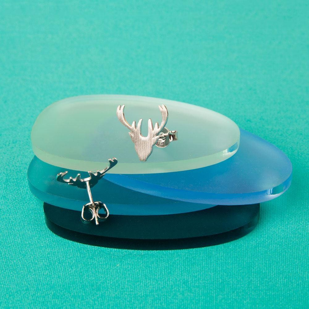 Brushed Silver Stag Earrings