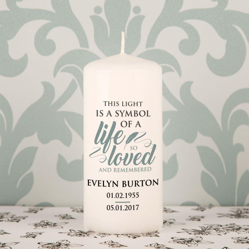 Personalised A Life so Loved Memorial Block Candle