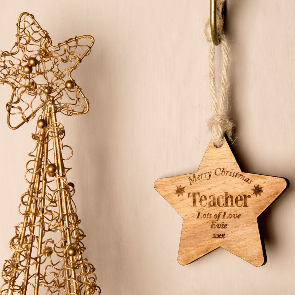 Personalised Wooden Christmas Bauble: Teacher