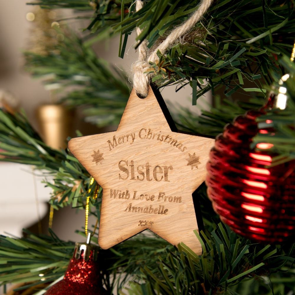 Personalised Sister Wooden Star