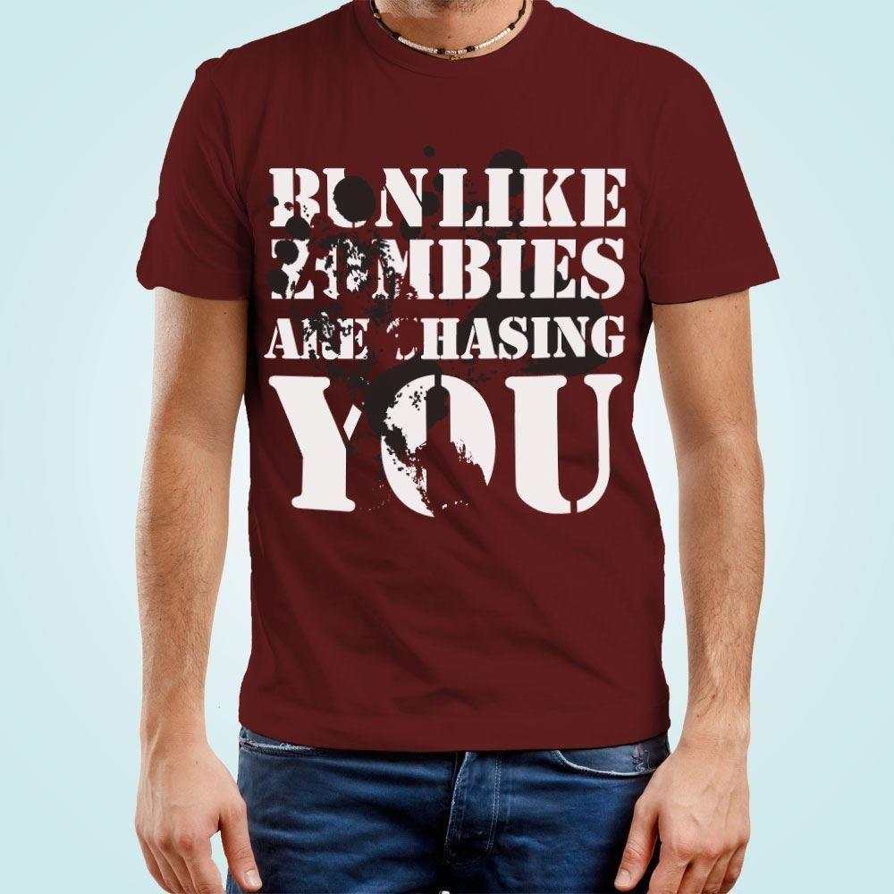 Mens Zombie Run Themed T-Shirt