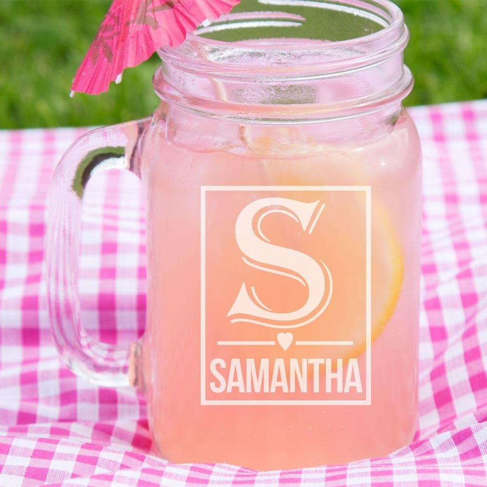 Engraved Female Initial Glass Mason Jar