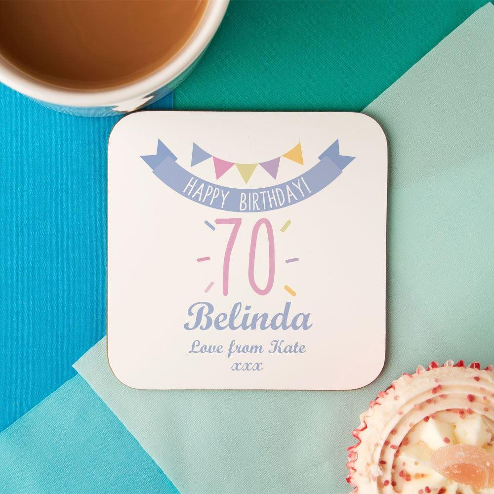70th Birthday Drinks Coaster for Her