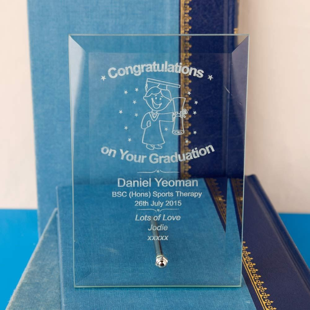 Engraved Graduation Glass Plaque For Him Forever Bespoke