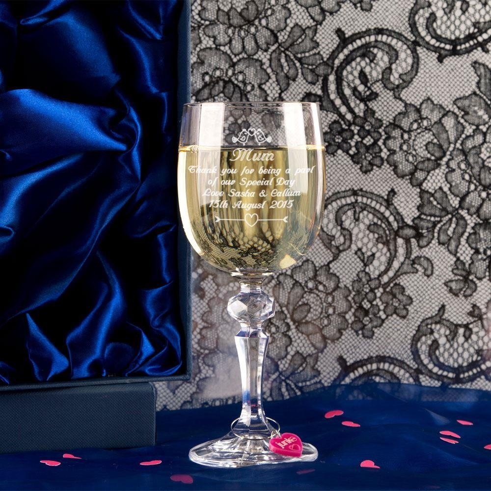 Personalised Mother of the Bride Wine Glass With Wine Charm and Gift Box