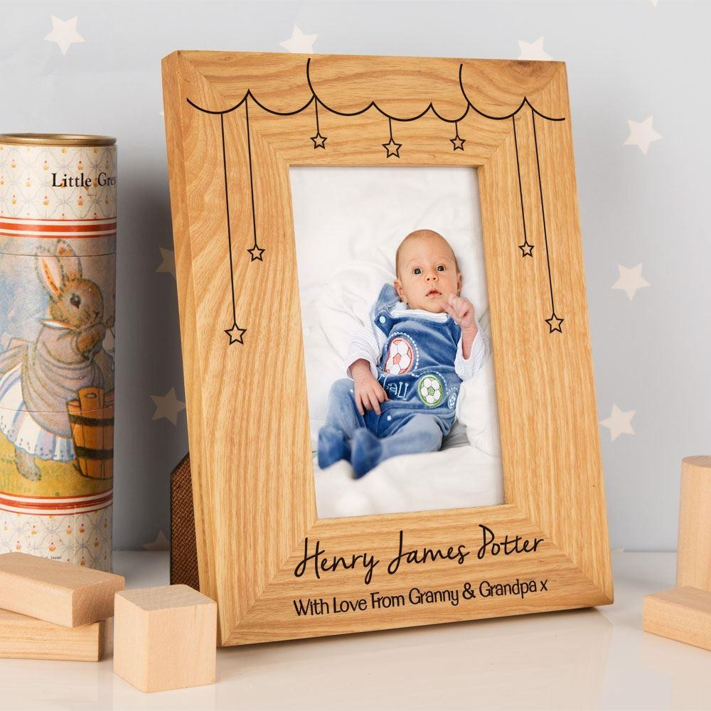 Cloud & Stars Personalised Oak Frame: Portrait