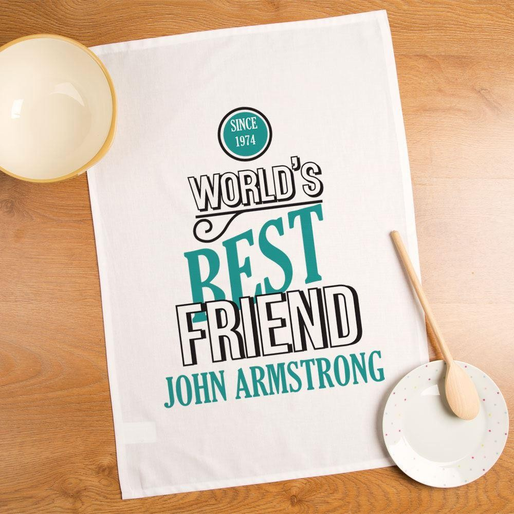 Worlds Best Friend Personalised Tea Towel for Him