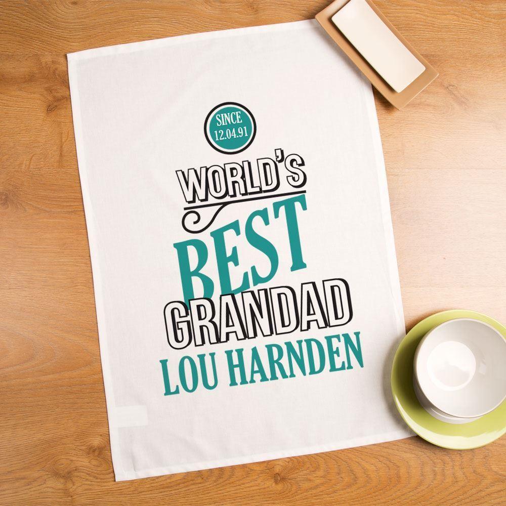 World S Best Grandad Novelty Tea Towel Forever Bespoke