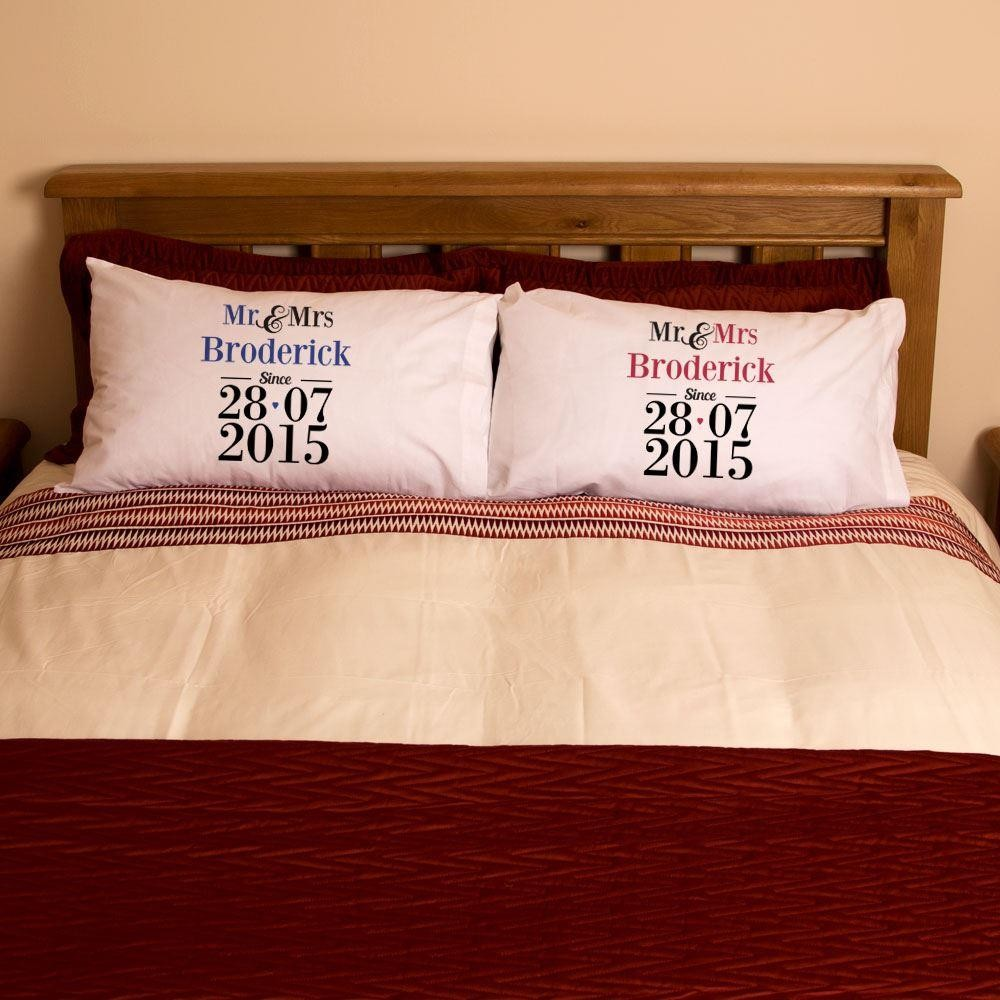 Mr Amp Mrs Pillowcase Set With Special Date Forever Bespoke