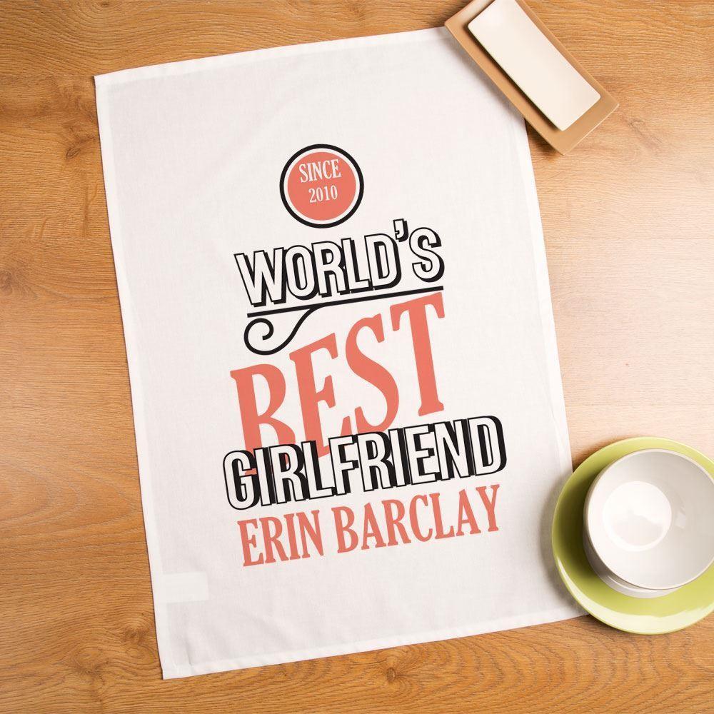Worlds Best Girlfriend Personalised Printed Tea Towel