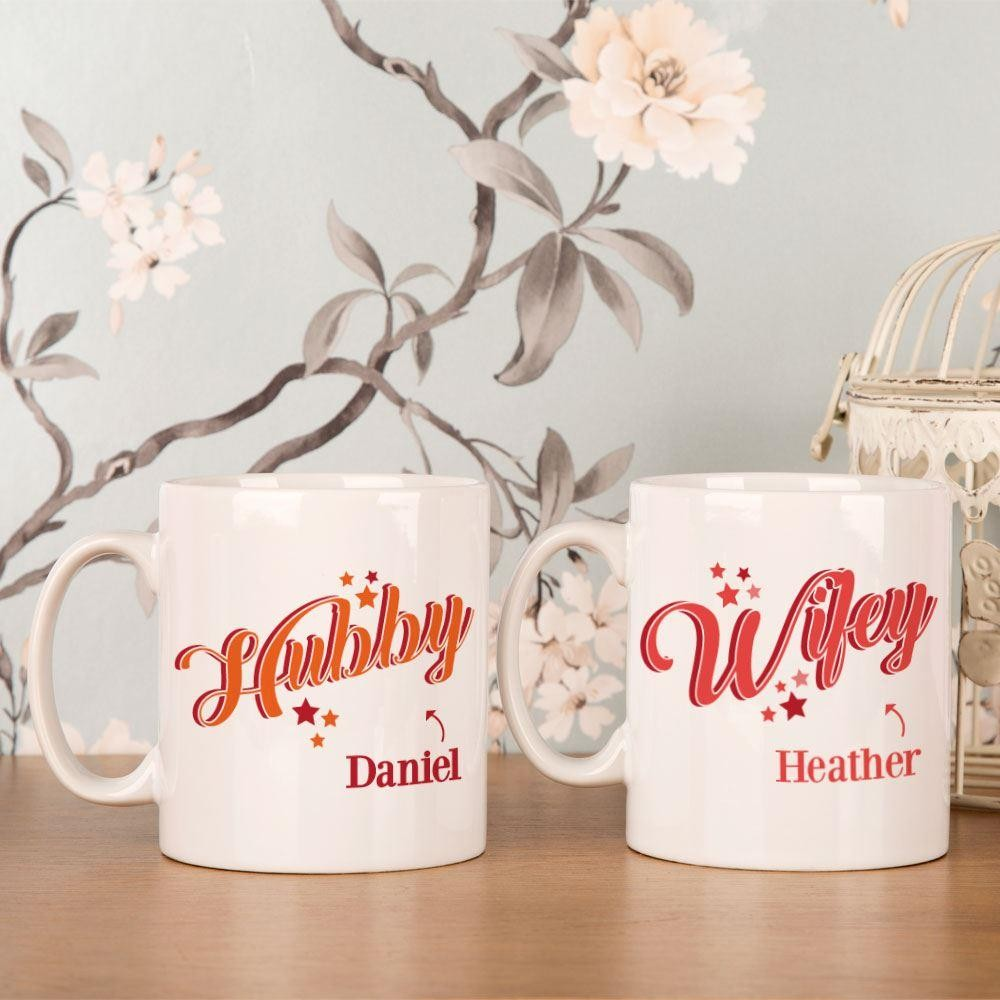 Personalised Hubby and Wifey Mug Set
