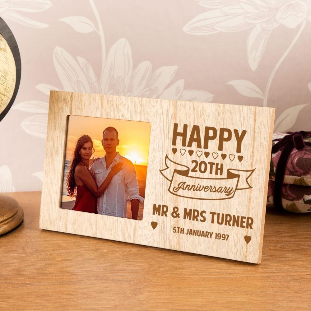 Personalised 20th Wedding Anniversary Wood Photo Frame