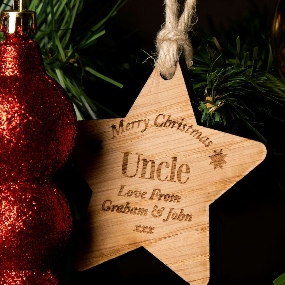 Personalised Uncle Wooden Star