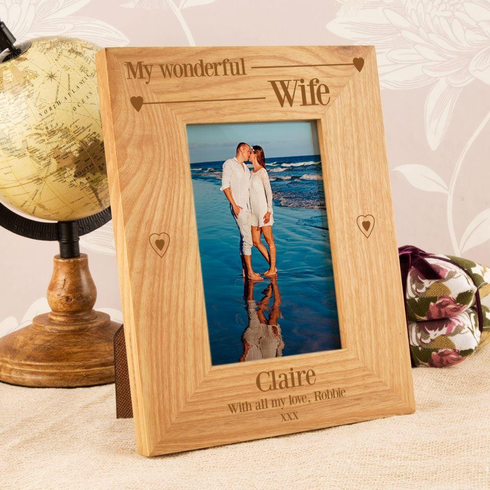 Wonderful Wife Bespoke Engraved Oak Frame